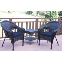 Set of 3 Espresso Resin Wicker Clark Single Chair with 2 inch Cushion and End Table