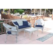 4pcs Grey Resin Wicker Clark Conversation Set with 2 inch Cushion