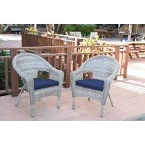 Set of 2 Grey Resin Wicker Clark Single Chair with 2 inch Cushion