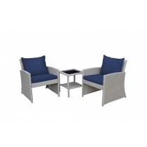 Mirabelle 3 Pieces Bistro Set with 2 Inch Midnight Blue Cushion