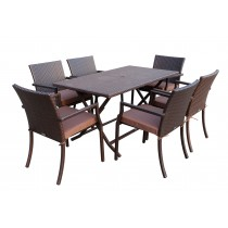 7pcs Cafe Square Back Chairs and Folding Wicker Buffet Table Set - Brown Cushions