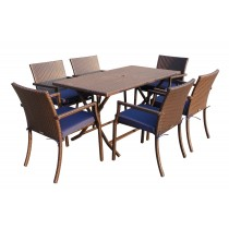 7pcs Cafe Square Back Chairs and Folding Wicker Buffet Table Set - Midnight Blue Cushions