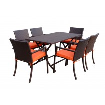 7pcs Cafe Square Back Chairs and Folding Wicker Buffet Table Set - Orange Cushions