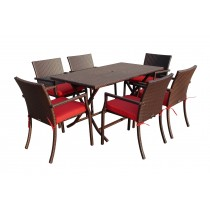 7pcs Cafe Square Back Chairs and Folding Wicker Buffet Table Set - Brick Red Cushions