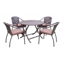 5pcs Cafe Curved Back Chairs and Folding Wicker Table Dining Set - Brown Cushions