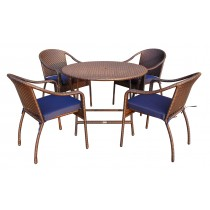 5pcs Cafe Curved Back Chairs and Folding Wicker Table Dining Set - Midnight Blue Cushions