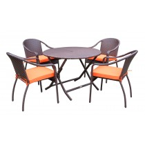 5pcs Cafe Curved Back Chairs and Folding Wicker Table Dining Set - Orange Cushions