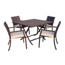 5pcs Cafe Square Back Chairs and Folding Wicker Table Dining Set - Tan Cushions