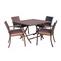 5pcs Cafe Square Back Chairs and Folding Wicker Table Dining Set - Brown Cushions