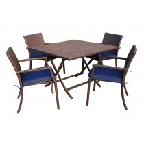 5pcs Cafe Square Back Chairs and Folding Wicker Table Dining Set - Midnight Blue Cushions