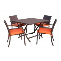 5pcs Cafe Square Back Chairs and Folding Wicker Table Dining Set - Orange Cushions