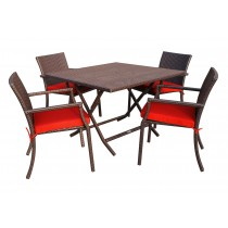 5pcs Cafe Square Back Chairs and Folding Wicker Table Dining Set - Brick Red Cushions