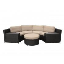 Cartagena 5pc Curved Modular Set with Tan Cushions