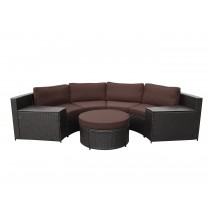 Cartagena 5pc Curved Modular Set with Brown Cushions