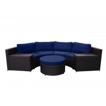 Cartagena 5pc Curved Modular Set with Midnight Blue Cushions