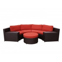 Cartagena 5pc Curved Modular Set with Brick Red Cushions