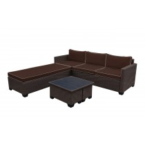 Saint Helena 5pcs Conversation set with Brown Cushions