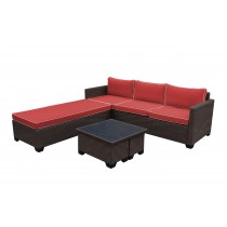 Saint Helena 5pcs Conversation set with Brick Red Cushions