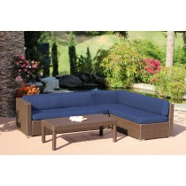 3pc Wicker Conversation Sectional Set - Midnight Blue Cushions