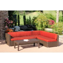 3pc Wicker Conversation Sectional Set - Brick Red Cushions