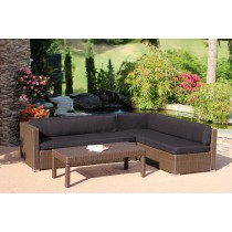 3pc Wicker Conversation Sectional Set - Coffee Cushions
