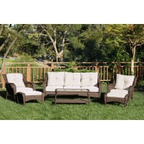 6pc Wicker Seating Set with Ivory Cushions
