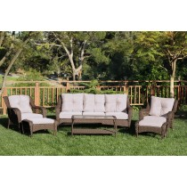 6pc Wicker Seating Set with Tan Cushions