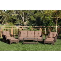 6pc Wicker Seating Set with Brown Cushions