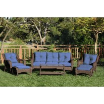 6pc Wicker Seating Set  with Midnight Blue Cushions