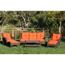 6pc Wicker Seating Set with Orange Cushions