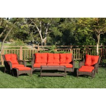6pc Wicker Seating Set with Brick Red Cushions