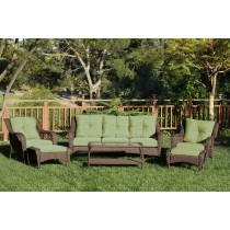 6pc Wicker Seating Set with Sage Green Cushions