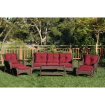6pc Wicker Seating Set with Red Cushions