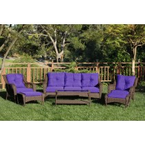 6pc Wicker Seating Set with Purple Cushions