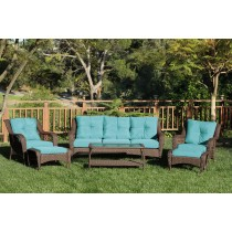 6pc Wicker Seating Set with Turquoise Cushions