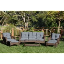 6pc Wicker Seating Set with Steel Blue Cushions