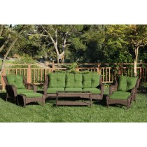 6pc White Wicker Seating Set with Hunter Green Cushions