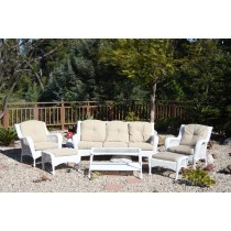 6pc White Wicker Seating Set with Ivory Cushions