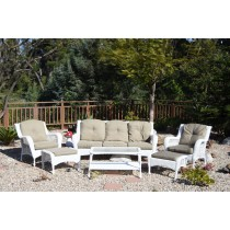 6pc White Wicker Seating Set with Tan Cushions