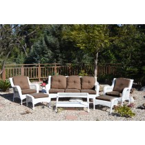 6pc White Wicker Seating Set with Brown Cushions