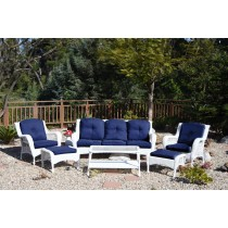 6pc White Wicker Seating Set  with Midnight Blue Cushions