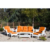 6pc White Wicker Seating Set with Orange Cushions