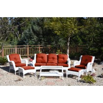 6pc White Wicker Seating Set with Brick Red Cushions