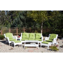 6pc White Wicker Seating Set with Green Cushions