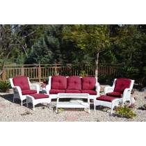 6pc White Wicker Seating Set with Red Cushions