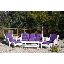 6pc White Wicker Seating Set with Purple Cushions