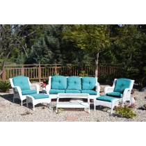 6pc White Wicker Seating Set with Turquoise Cushions