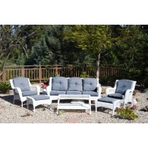 6pc White Wicker Seating Set with Steel Blue Cushions