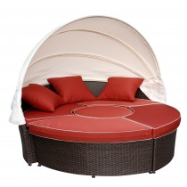All-Weather Wicker Sectional Daybed - Red Cushions