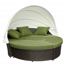 All-Weather Wicker Sectional Daybed - Green Cushions
